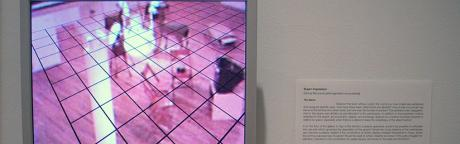 Installation View: A monitor with room image and superimposed grid.