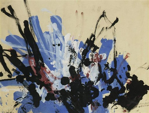 Abstract blue black and white painting by a chimp